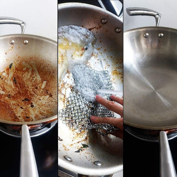 Model using chainmail scrubber on pan with before-and-after photos on the sides