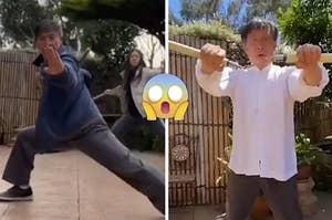 Chang Liang performing martial arts moves.