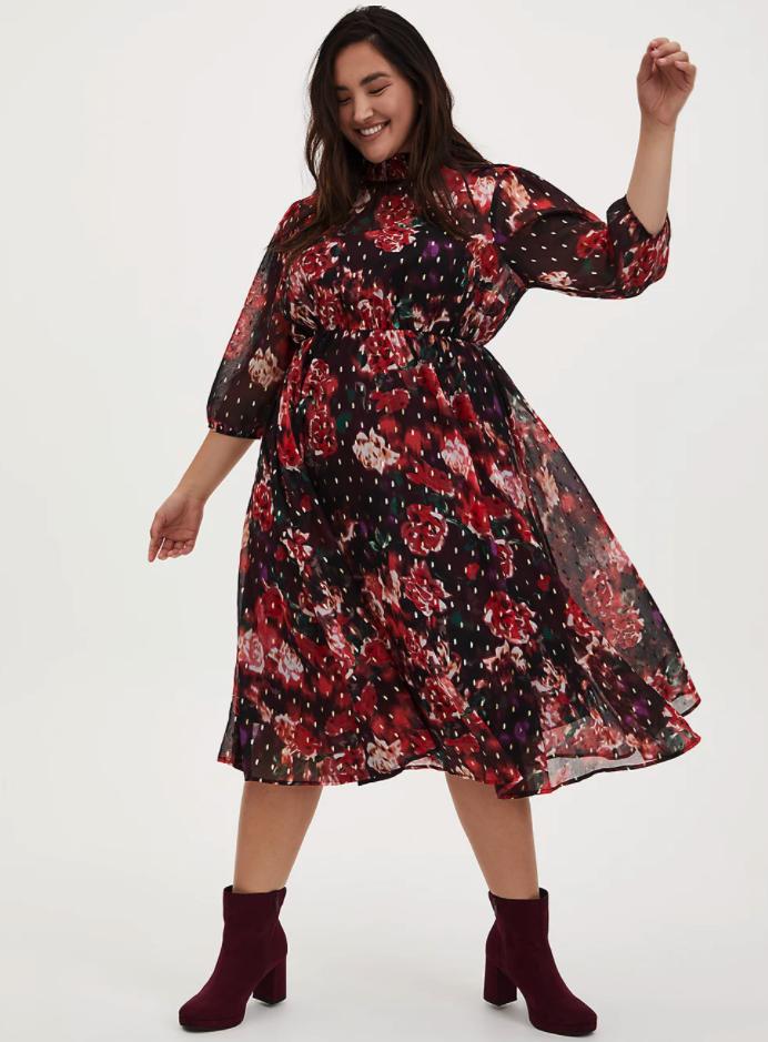 model wearing a floral chiffon mock neck midi dress