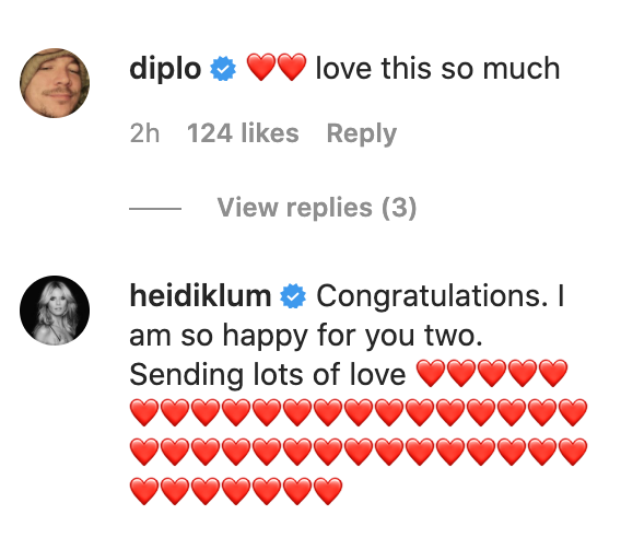 Diplo and Heidi Klum also congratulated Paris on her engagement