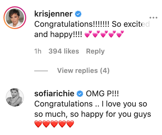 Kris Jenner and Sofia Richie posted their congratulations