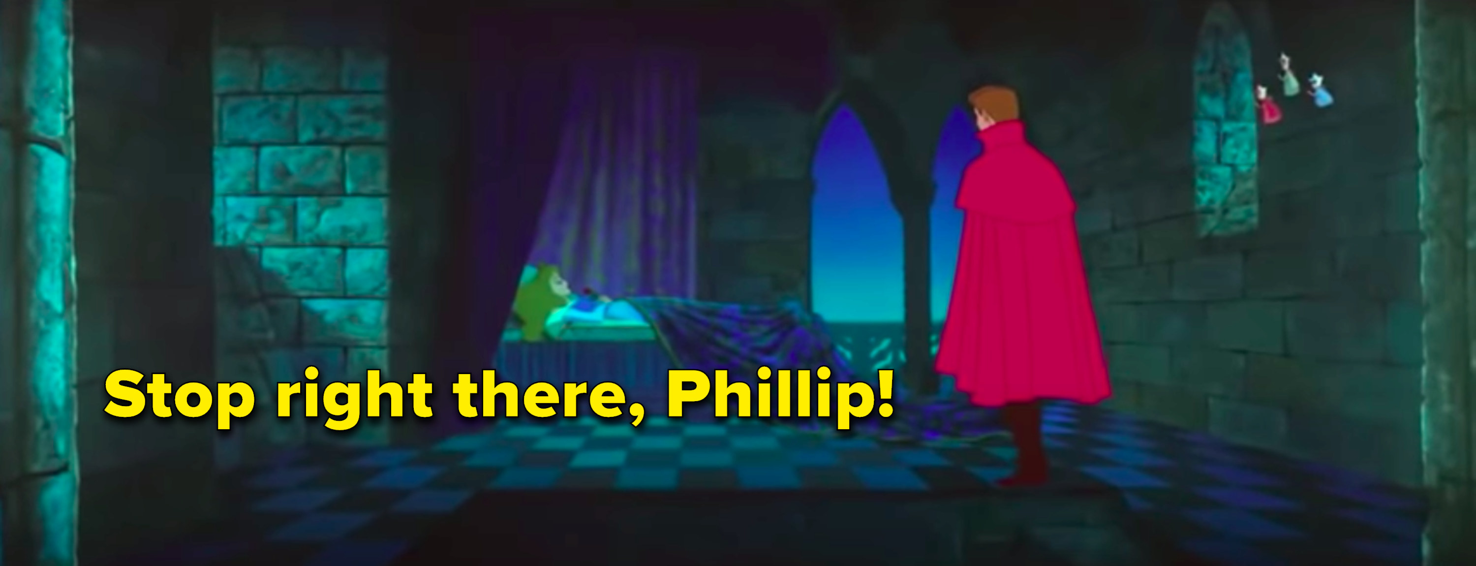 """Stop right there, Phillip"" written next to Phillip walking up to sleeping Aurora"