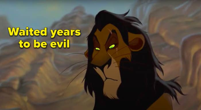 """Waited years to be evil"" written next to Scar"