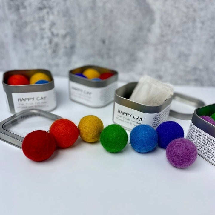 various colors of the catnip balls arranged