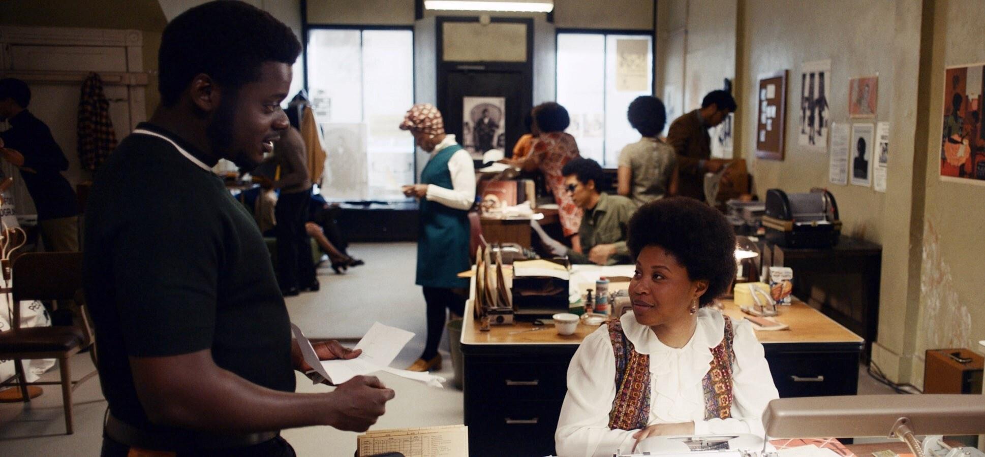 Daniel Kaluuya as Fred Hampton talking to Dominique Fishback as Deborah Johnson in Judas and the Black Messiah