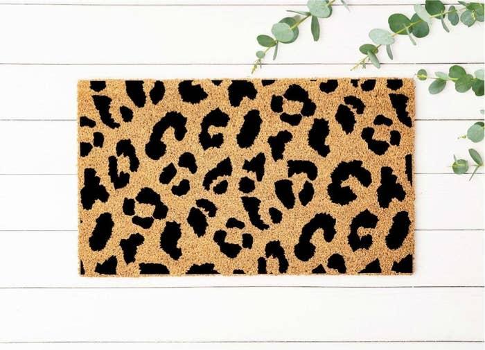 Leopard print natural doormat