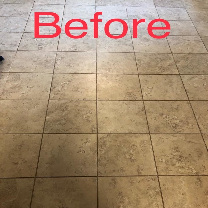 Reviewer photo of tiled floor before using grout cleaner