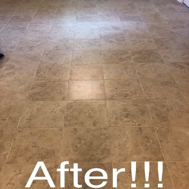 Reviewer photo of tiled floor after using grout cleaner
