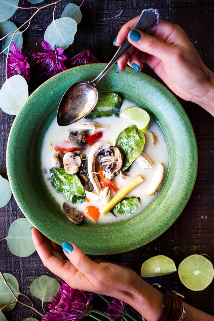 A bowl of Thai coconut chicken soup.