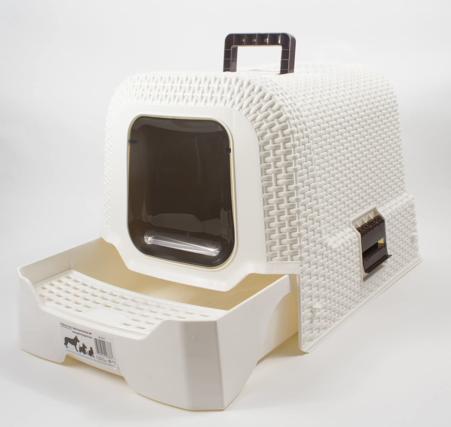 Covered litter box made of thick plastic with woven pattern, closed doggy door, and handle for carrying. It has a litter catcher step in front of the doggy door.