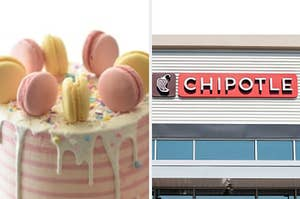 A cake with different colored macaroons on it and the restaurant Chipotle.