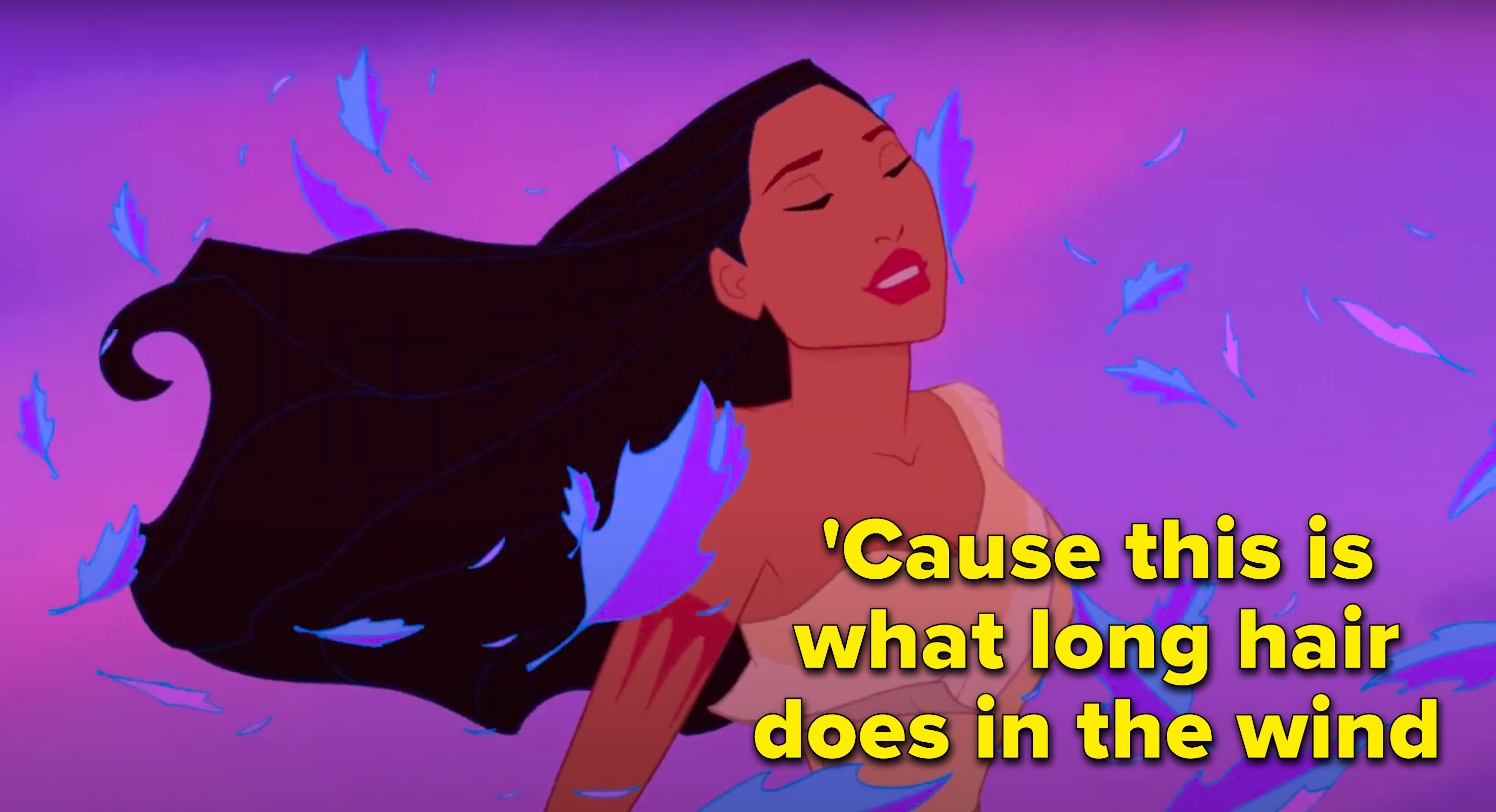 """'Cause this is what long hair does in the wind"" written next to Pocahontas with lovely hair in the wind"