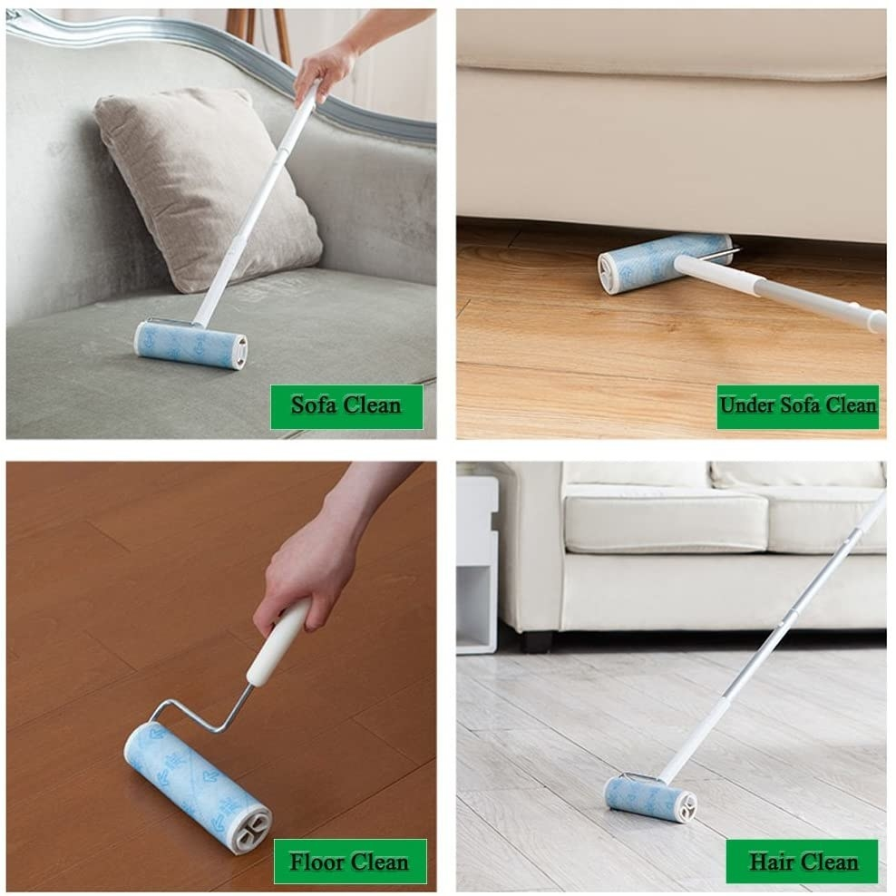 The lint roller being used in four different ways. Once on the sofa, one under the sofa on the hardwood floor, on the floor with the short handle, and again with the long handle.