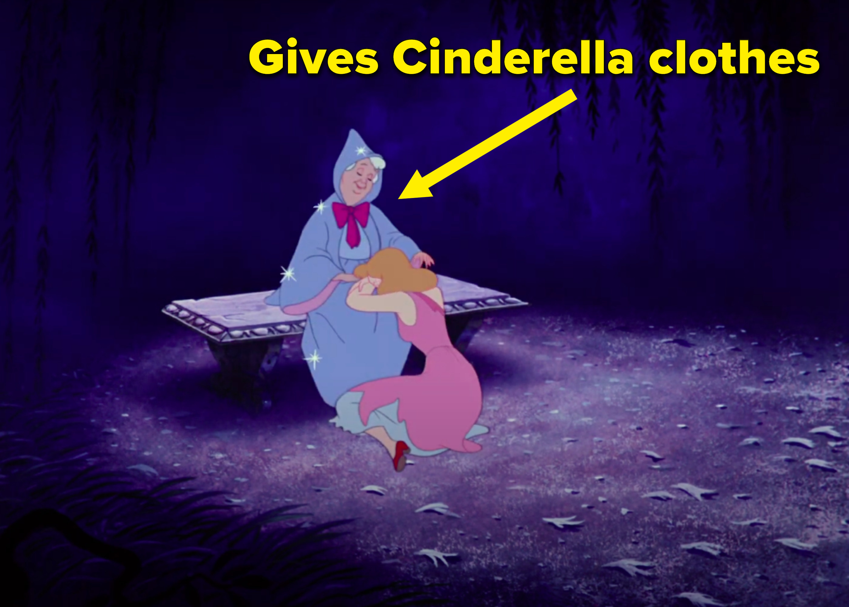 """Gives Cinderella clothes"" written next to the fairy godmother comforting Cinderella"