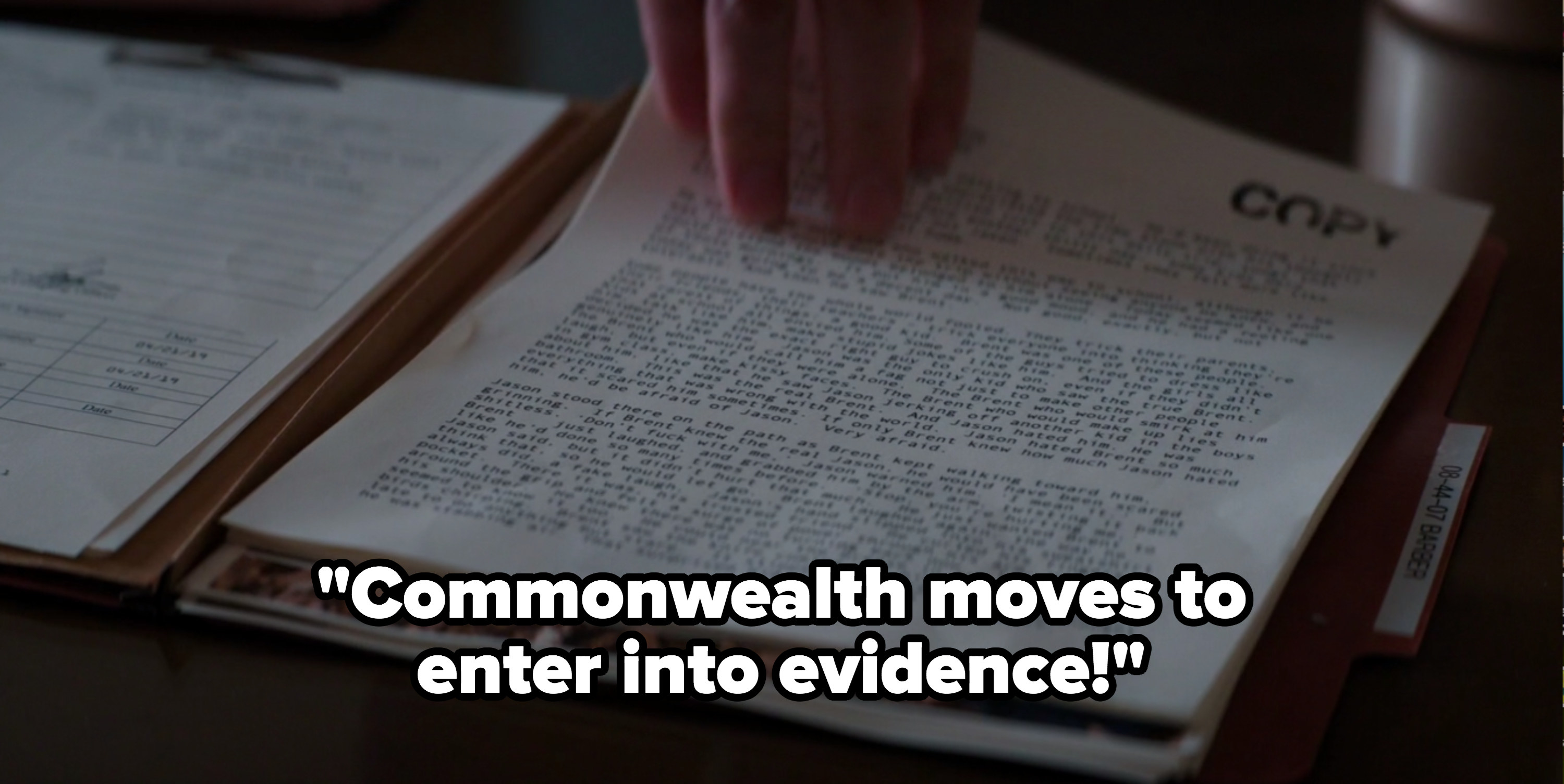 """""""Defending Jacob"""" prosecutor: """"Commonwealth moves to enter into evidence"""""""
