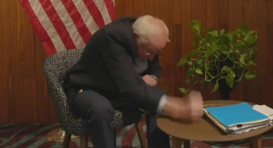 Bernie Sanders slamming fist on table meme
