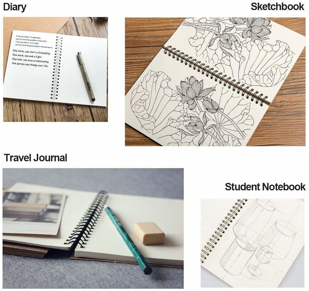 Various uses of the spiral notebooks.