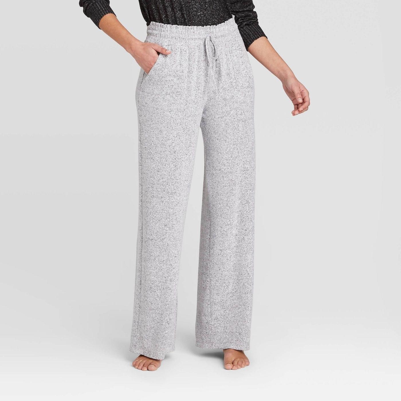 Model in wide leg lounge pants