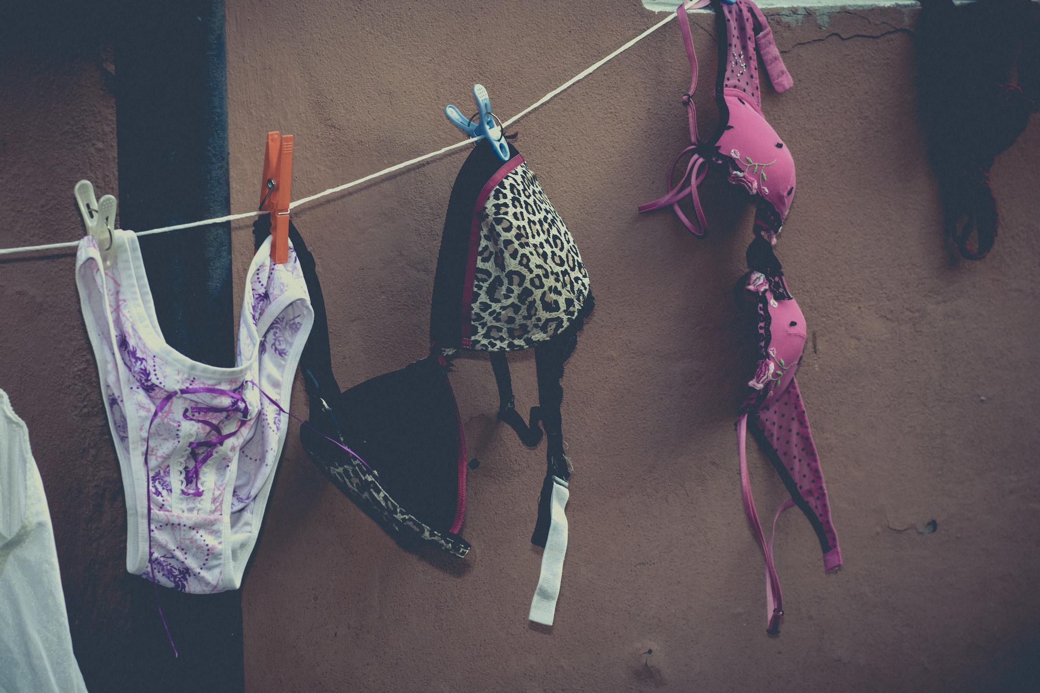 An image of lingerie hanging on a clothes line