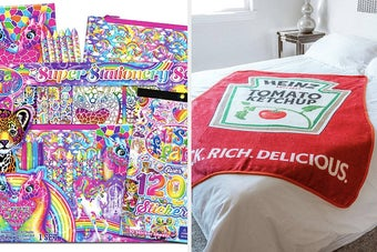 left image: lisa frank stationary set, right image: ketchup blanket