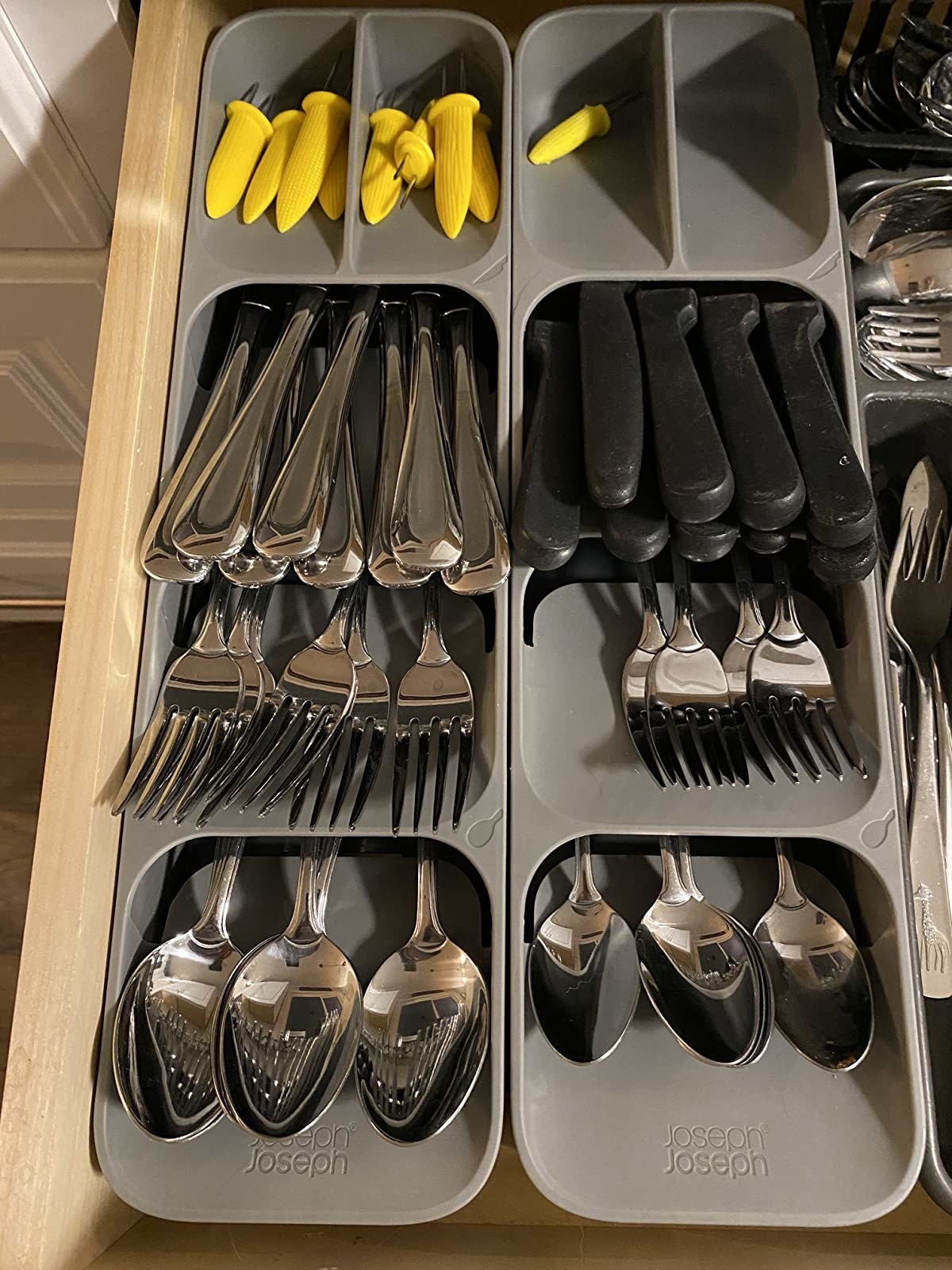 Reviewer photo of cutlery neatly organized