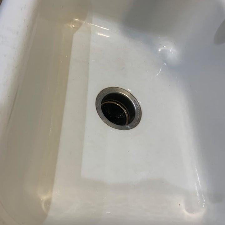 Reviewer photo of sink after using eraser sponge