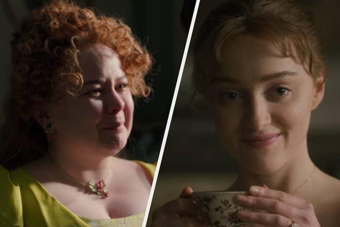 "Penelope crying and Daphne smiling on ""Bridgerton"""