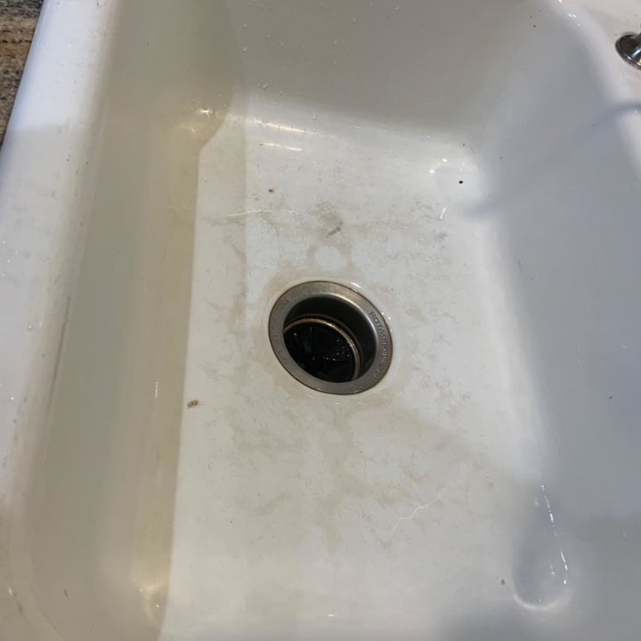 Reviewer photo of sink before using eraser sponge