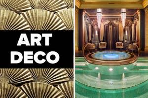 """""""Art Deco"""" over golden metal, next to a luxury indoor pool"""