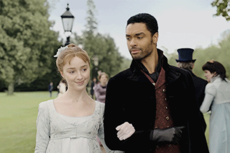 """Simon and Daphne from """"Bridgerton"""" walking together"""