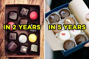 """On the left, a box of various truffles labeled """"in 2 years,"""" and on the right, someone holding a box of dark chocolates, milk chocolates, and white chocolates labeled """"in 5 years"""""""