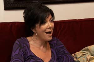kris jenner in season one of keeping up with the kardashians looking shocked