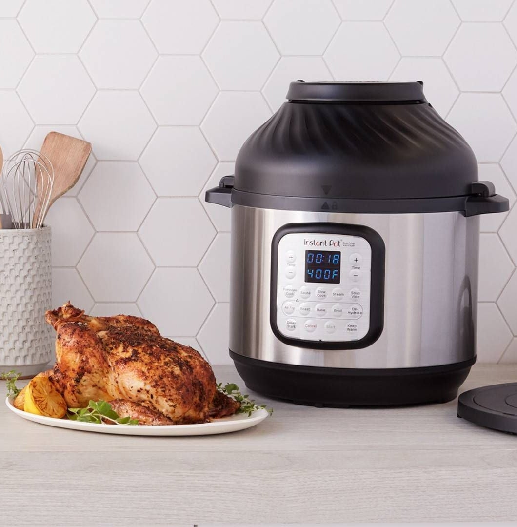The Instant Pot, with a roasted chicken