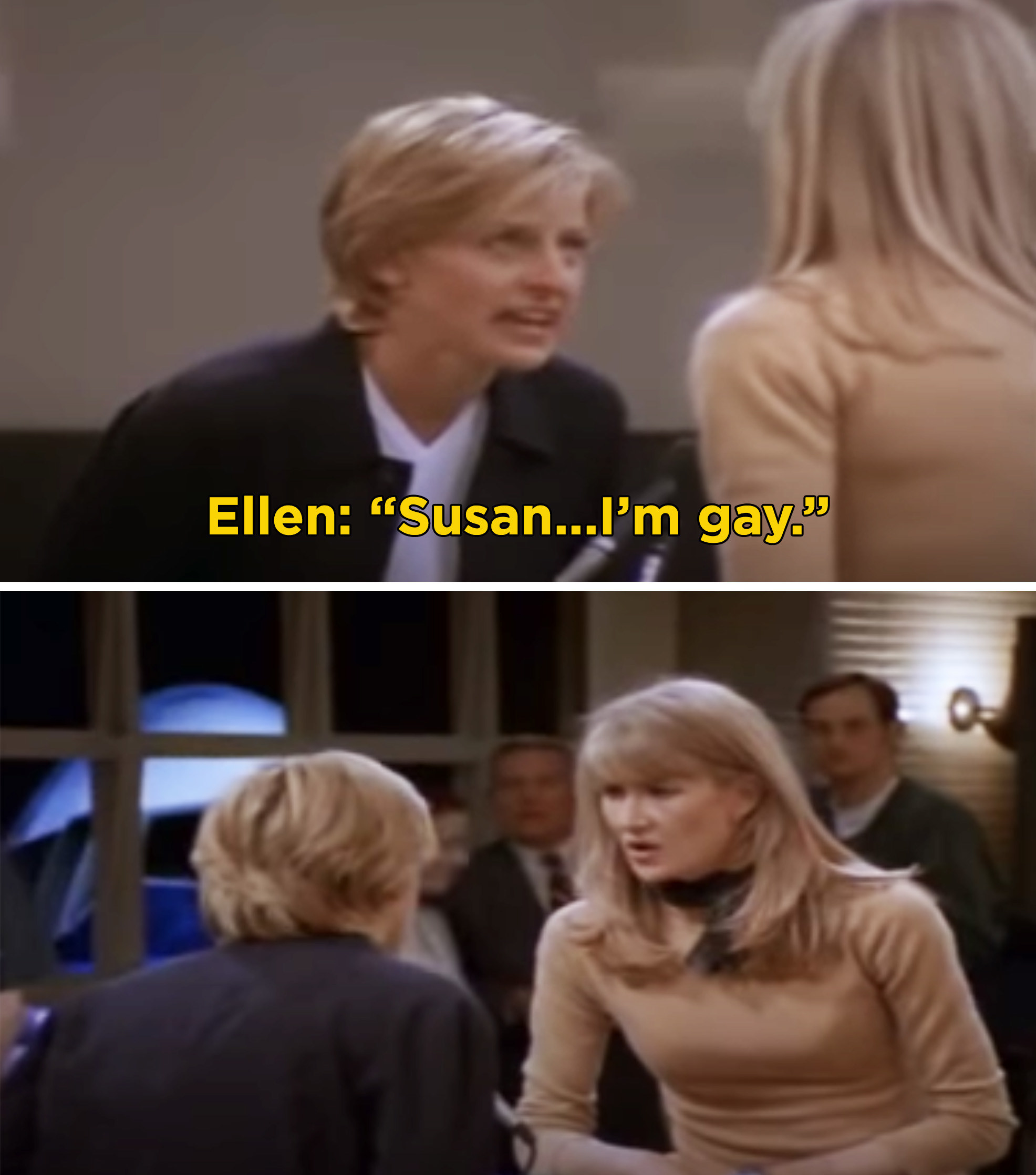 "Ellen saying, ""Susan...I'm gay"" into the loudspeaker at the airport"