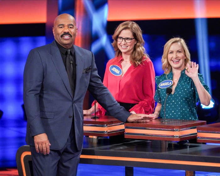 Steve Harvey, Jenna Fischer, and Angela Kinsey on Celebrity Family Feud