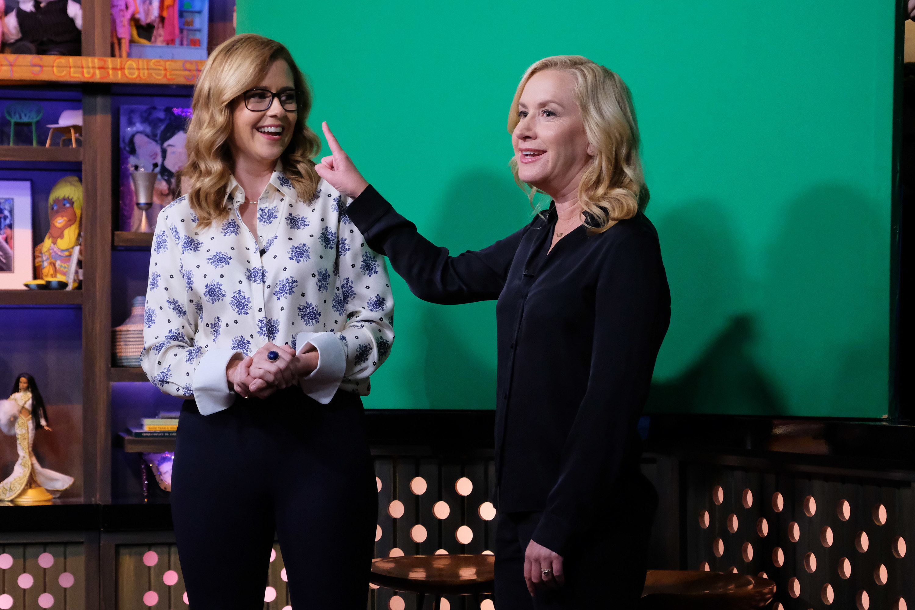 Jenna Fischer and Angela Kinsey on the set of Watch What Happens Live With Andy Cohen