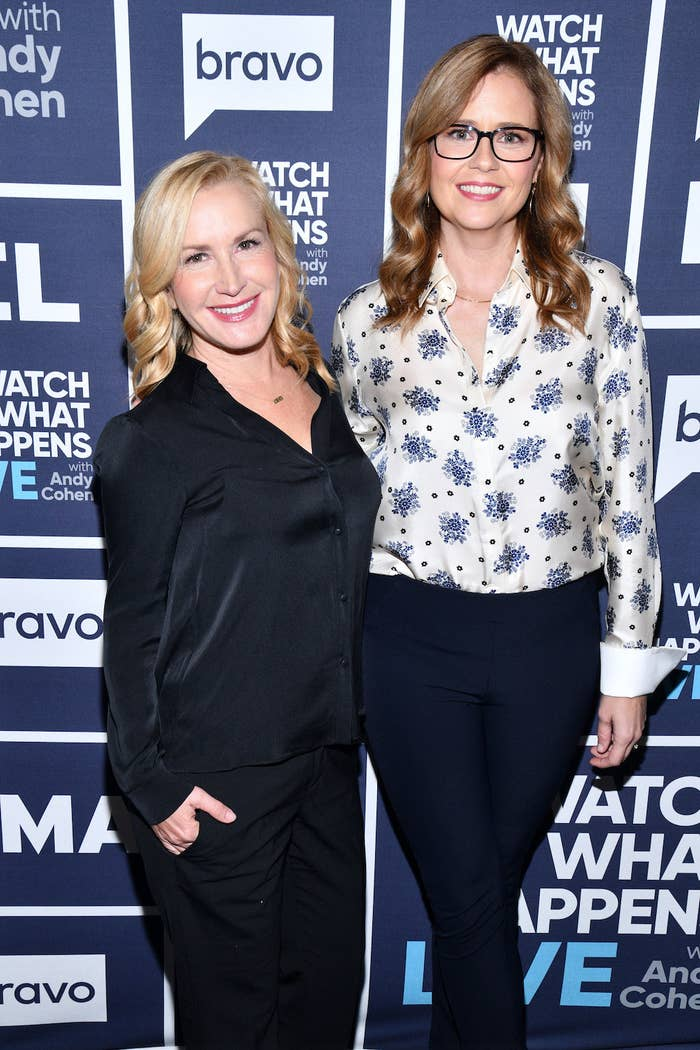 Angela Kinsey and Jenna Fischer standing next to each other at an event for Watch What Happens Live With Andy Cohen