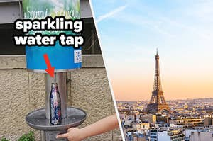 free sparkling water tap an the Eiffel tower