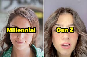 """a girl with a side part with the text """"millennial"""" and a girl with a middle part with the text """"gen z"""""""