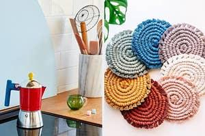 a colorful moka pot and a set of seven hand crocheted coasters
