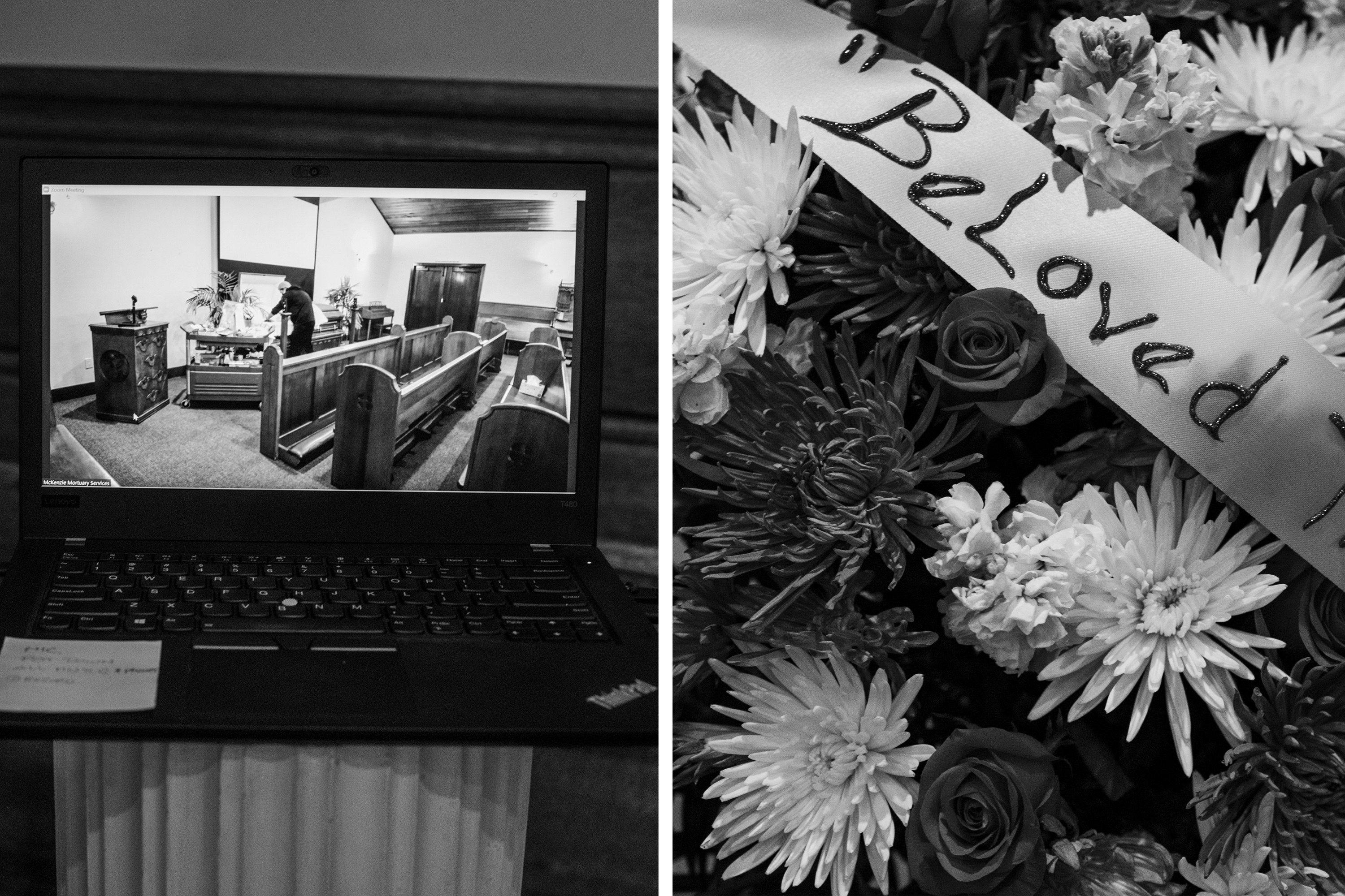 A funeral service is seen on a laptop and a bouquet of roses