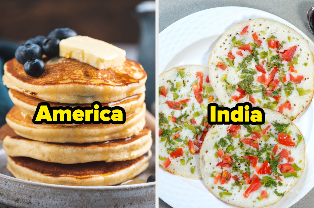 Stack of thick American pancakes in one photo; plate of thin Indian pancakes in other photo