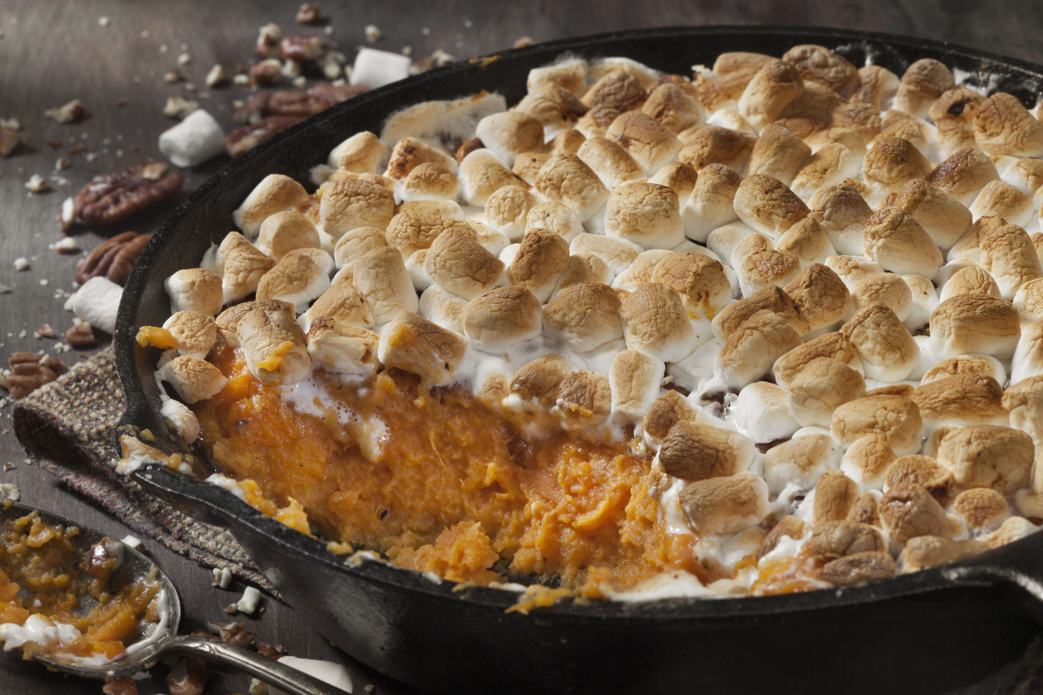 Sweet potato pie with thick topping of marshmallows