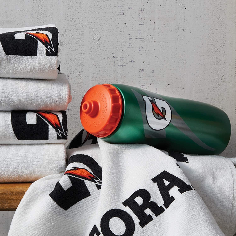 Gatorade squeeze water bottle styled in a locker room