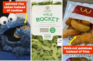 Cookie monster eating cookies; a bag of 'rocket'; thick-cut McDonalds fries