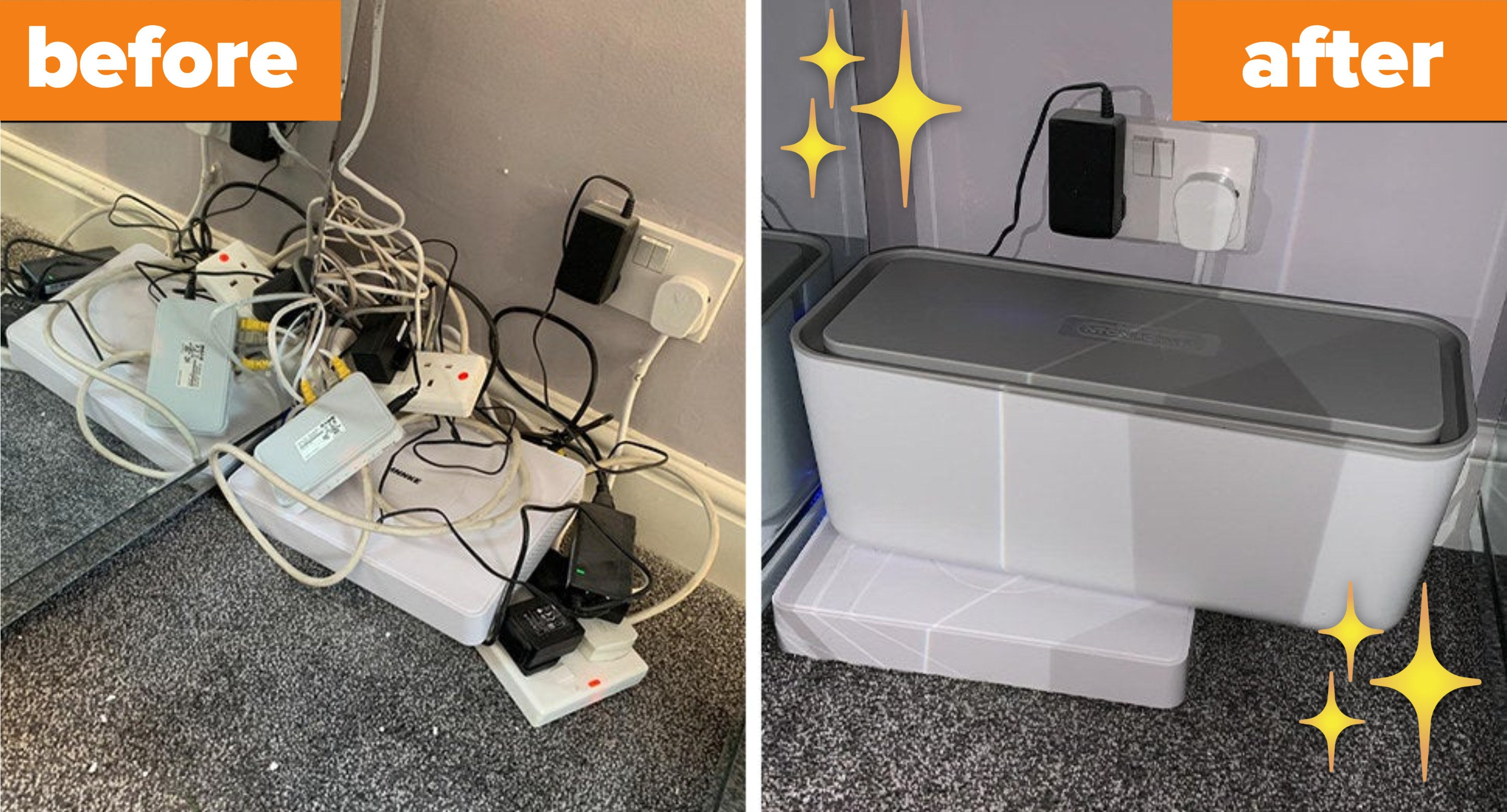 The before and after images of the cable management box