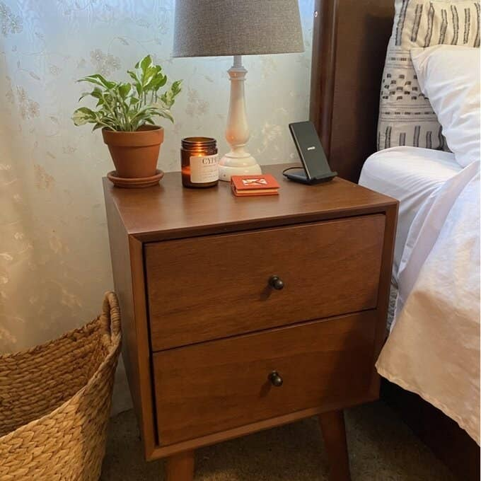 Reviewer's picture of the nightstand in brown