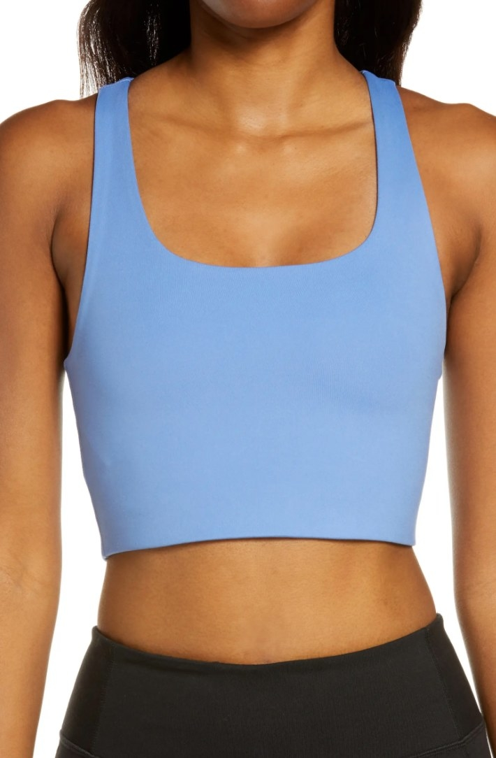 The Girlfriend Collective sports bra in periwinkle