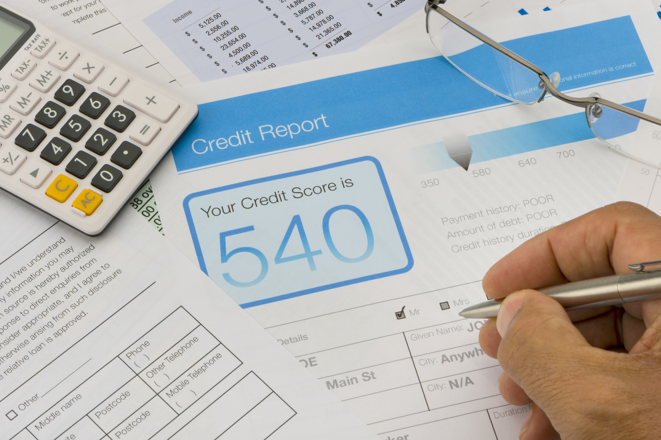 Credit report showing a 540 score