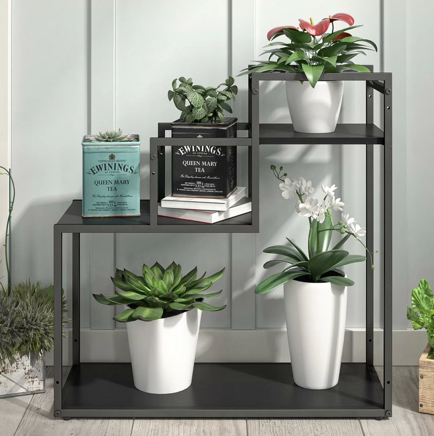 The three-tiered plant stand in black oak